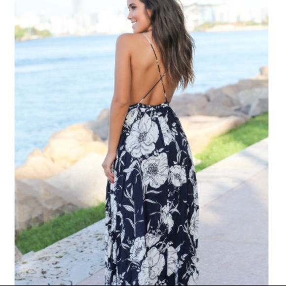 4c594da24b9 Saved by the Dress Navy and White Floral Maxi